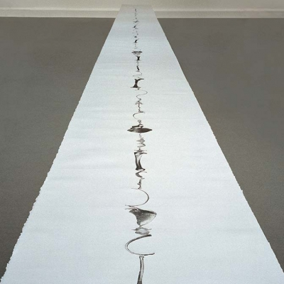 16M - etching on paper, 75cm x 16m, all the bones of a human skeleton are laid end to end