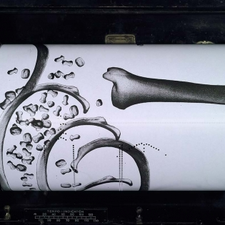 SKIZZEN BODY, silkscreen on pianola roll, 20cm x 12 meters, Collaboration with Dominic Murcott