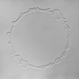 FOOTPRINT circle, blind embossed etching on paper, 50 x 50cm