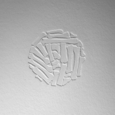 HANDPRINT ball, blind embossed etching on paper, 30 x 30cm